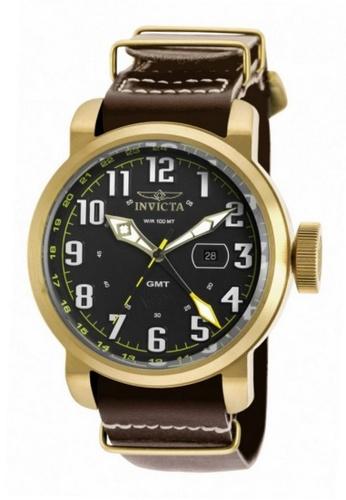 INVICTA gold Invicta Aviator Men 52mm Case Brown, Ivory Leather Strap Black Dial Quartz Watch 18888 w/ Cap IN968AC0FEK9SG_1