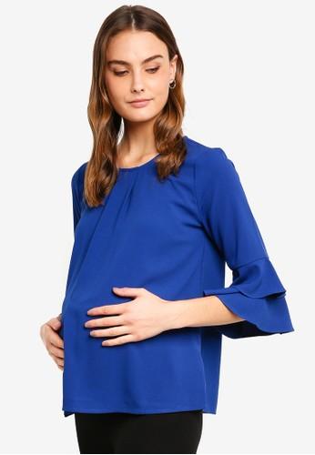 Spring Maternity blue Maternity Long Flounce Sleeves Coreene Top B8FF2AA3B23431GS_1