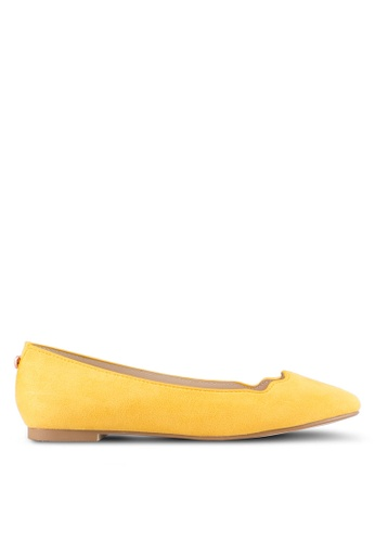Velvet yellow Scalloped Edge Ballerina Flat B4419SHC8DB7A4GS_1