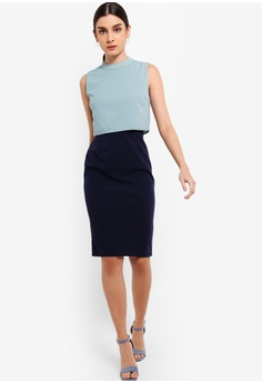 5c4e326b346 ZALORA green and navy Tiered Midi Dress E047DAA1380C1FGS 1