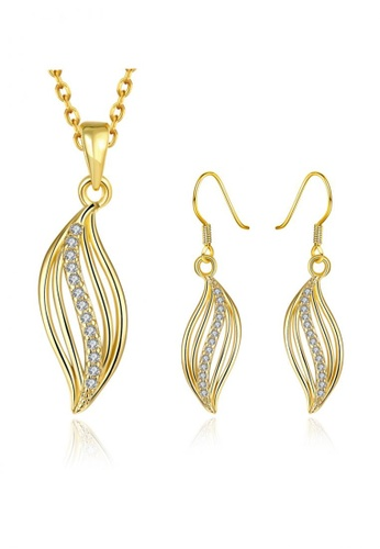 Treasure by B & D gold S001-A  Gold Plant Dance Czech Drilling Suit Jewelry Set TR022AC56UITPH_1