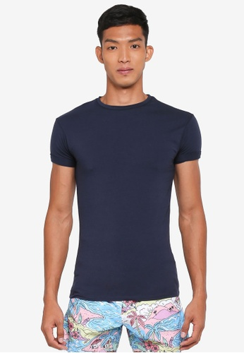 Topman blue Navy Ultra Muscle Roller T-Shirt 5A92AAA36FF4C4GS_1