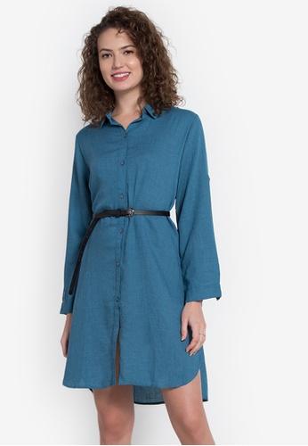 Chloe Edit blue Collared Buttondown Shirt Dress With Belt CH672AA0JZBZPH_1