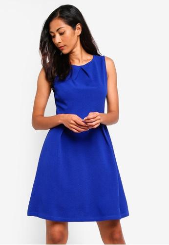 ZALORA BASICS blue Basic Pleat Details Dress 7D81AAAC500438GS_1