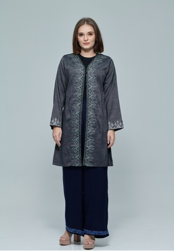 KASHKHA grey Abstract Embroidered Cotton Cardigan 785E5AA0AF7355GS_1