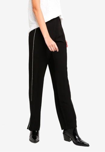 River Island black Glits Side Stripe Trousers 521CEAA8DD474CGS_1