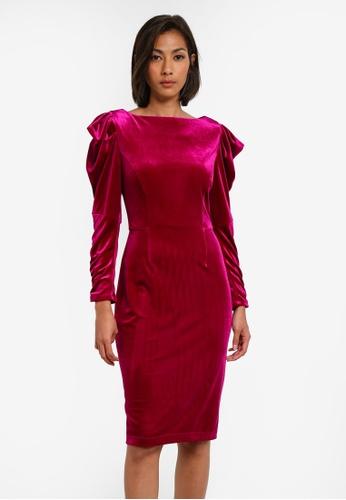 Dorothy Perkins pink Velvet Rouched Sleeve Bodycon Dress DO816AA0SB63MY_1