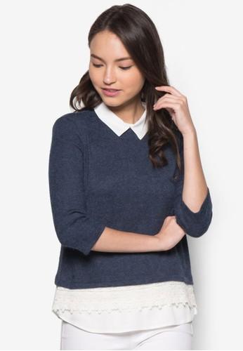 Petite 假兩件拼接長袖衫,zalora 衣服尺寸 服飾, 上衣