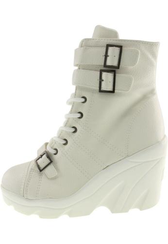 Maxstar 白色 新款韩国鞋Wh-3Band時尚皮革布混合女白色 US Women Size MA345SH92HBFTW_1