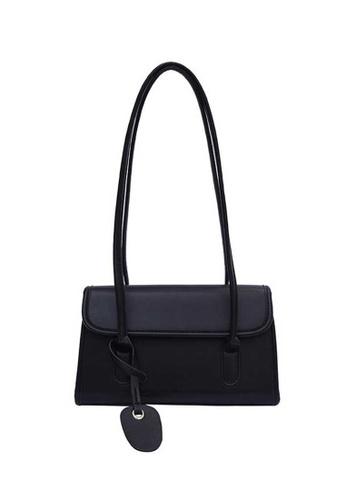 Lara black Women's Leather Flap Zipper Underarm Rectangle Bag - Black E05B2AC93FDA14GS_1