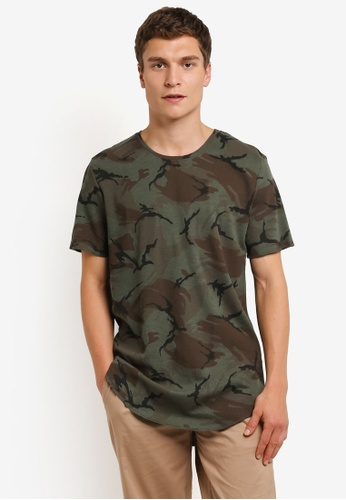 Factorie green and multi Short Sleeve Curved Tall Waffler T-Shirt FA880AA0RPM9MY_1