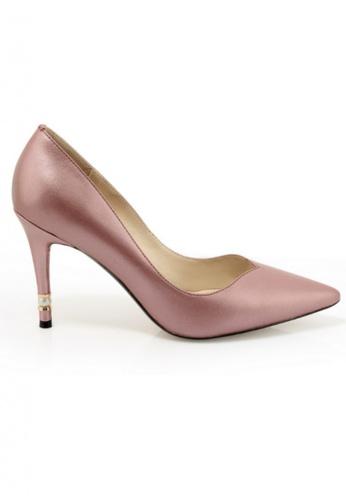 Sunnydaysweety pink Big Sale Item -2017 Latest Korean Pearl Pink Leather High Heel RA072898 SU219SH0F99QSG_1