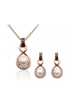 Ophelia 18K Rose Gold Plated Necklace & Earrings Set