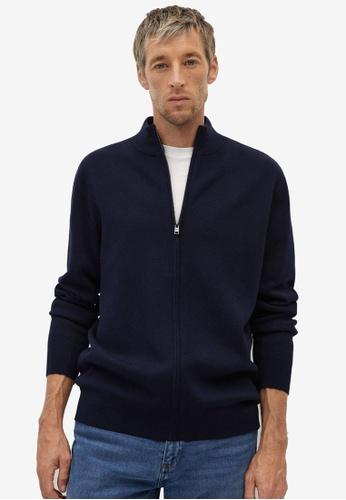MANGO Man blue Zipper Cotton Cashmere Cardigan A3351AAAF3E70CGS_1