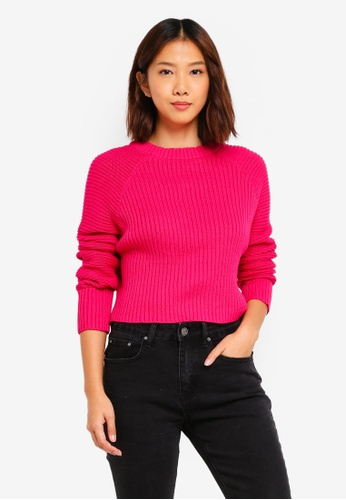 Supre pink Charlotte Long Sleeve Textured Crop Sweater 8FD50AAA603425GS_1