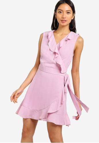 ZALORA purple Ruffles Wrap Dress 6D84DAAEC71B57GS_1