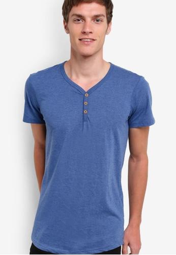 Cotton On 藍色 簡約鈕扣圓領短袖 TEE CO372AA68NCXMY_1