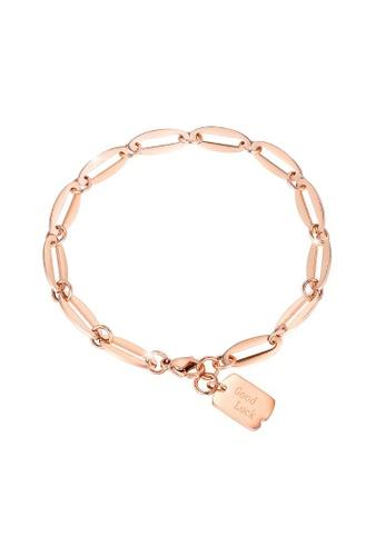 Bullion Gold 金色 BULLION GOLD Good Luck Chain Bracelet in Rose Gold Layered Steel Jewellery 6AC43AC3922AEAGS_1