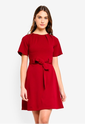 Dorothy Perkins 紅色 Red Belted Button Dress 536D3AA8DED236GS_1