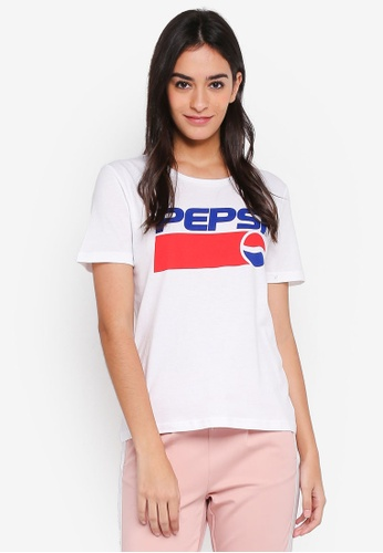 ONLY white Pepsi Short Sleeve Tee 85480AA7588C07GS_1