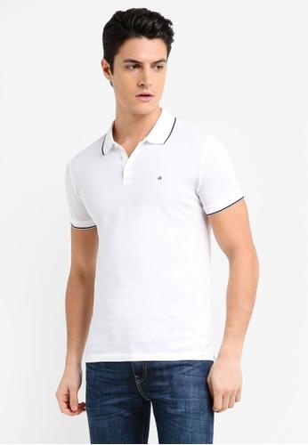 Calvin Klein white AS-Paul Short Sleeve Slim Fit Polo Shirt - Calvin Klein Jeans B444BAAB932F98GS_1