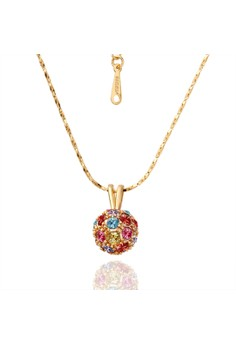 N019 Luxurious Colored Glass Stone Embelished Ball Pendant Plated Necklace