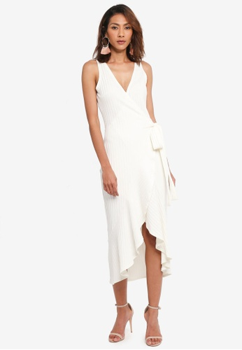 Lavish Alice white Rib Knit Wrap Front Tiered Drape Front Dress LA457AA0SSQIMY_1