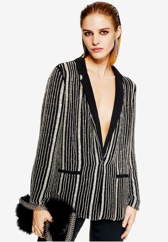 TOPSHOP black Stripe Embellished Jacket 28650AA677EC97GS_1