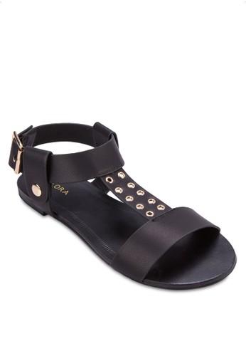 T zalora開箱字帶鉚釘繞踝涼鞋, 女鞋, 涼鞋