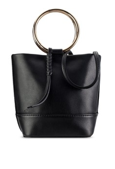 ZALORA  Metal Handle Mini Bucket Bag