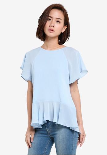 ZALORA blue Flare Hem Top BC6BFAAF79971DGS_1