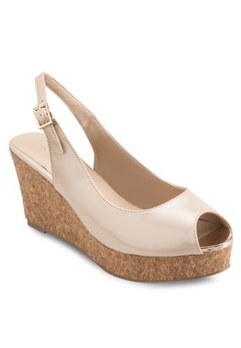Deesprit outlet 台灣ana 露趾繞踝木製楔形鞋, 女鞋, 鞋