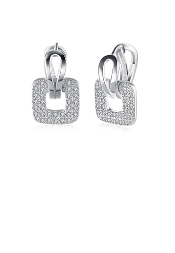 Glamorousky white Bright and Elegant Geometric Square Cubic Zircon Earrings BA248AC4EB17CAGS_1