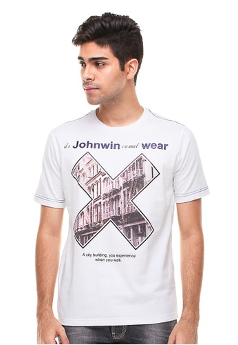 Johnwin white Johnwin - Slim Fit - Kaos Casual Active - Gambar Sablon - Putih D55D7AADC17160GS_1