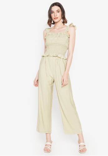 Spring Fling green Ruched Top and Pants Set AB1B8AA37990DBGS_1