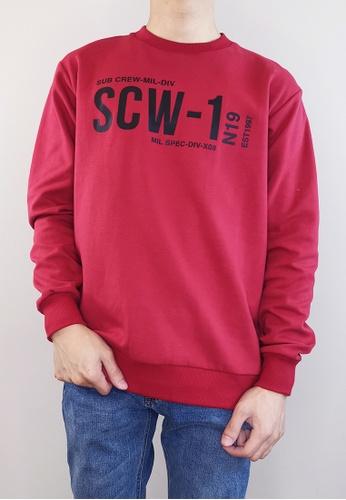 SUB red Men Long Sleeve Sweatshirt 01A5EAAEE72922GS_1