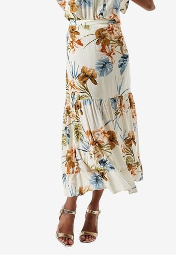 Dorothy Perkins white Petite Ochre Printed Maxi Skirt B9CB2AA78C6DE5GS_1