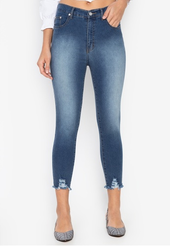 High Rise Semi Distressed Ankle Jeans
