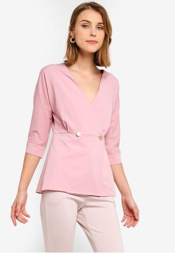 ZALORA 粉紅色 交叉V領上衣 BF0DEAAF629166GS_1