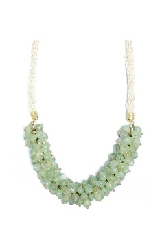 J Crew Green Glass Beads Cluster Statement Necklace