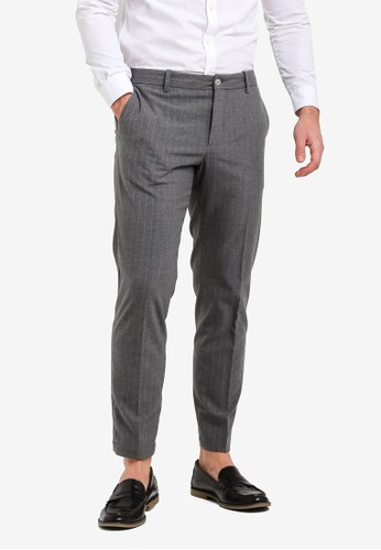 MANGO Man grey Slim-Fit Chalk-Stripe Trousers 243A8AAB1CF6FCGS_1