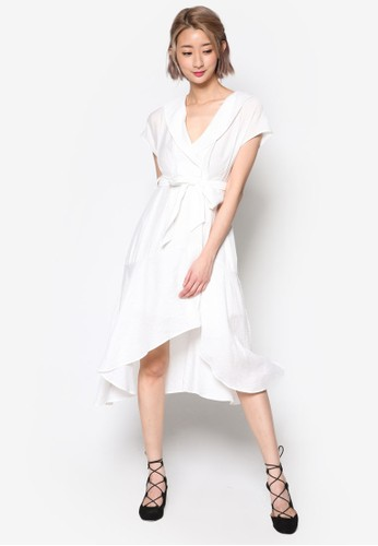 裹飾V 領繫esprit hk帶過膝連身裙, 服飾, 洋裝