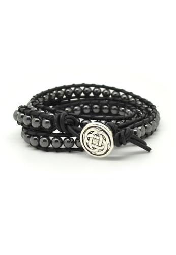 Fur Nyce black Hematite Beads Leather Wrap Bracelet FU779AC34IDLMY_1