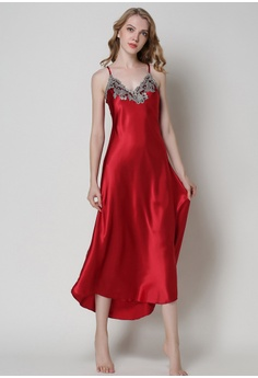 SMROCCO red Silk Spagetti Long Dress Nightie L8007 (Red) 8E2FFAA3C1FC70GS 1 859c09284