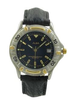 Image of ALBA Jam Tangan Pria - Black Silver Gold - Leather Strap - ATXS92