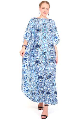 Kanzi by liza yahya blue and multi Kanzi Short Sleeve Classic Kaftan Mosaic 03E26AA92134AEGS_1