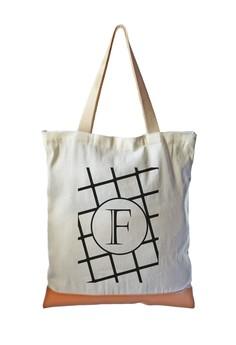 Tote Bag Minimalist Initial F