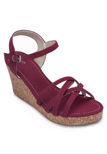 交叉多帶楔型跟鞋, 女鞋, 楔形涼zalora 順豐鞋