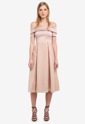 Vesper gold Hepburn Jacquard Full Skirt Dress VE733AA0S78UMY_1