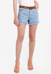 Dorothy Perkins blue Mid Wash Denim Daisy Shorts DO816AA45QUWMY_1